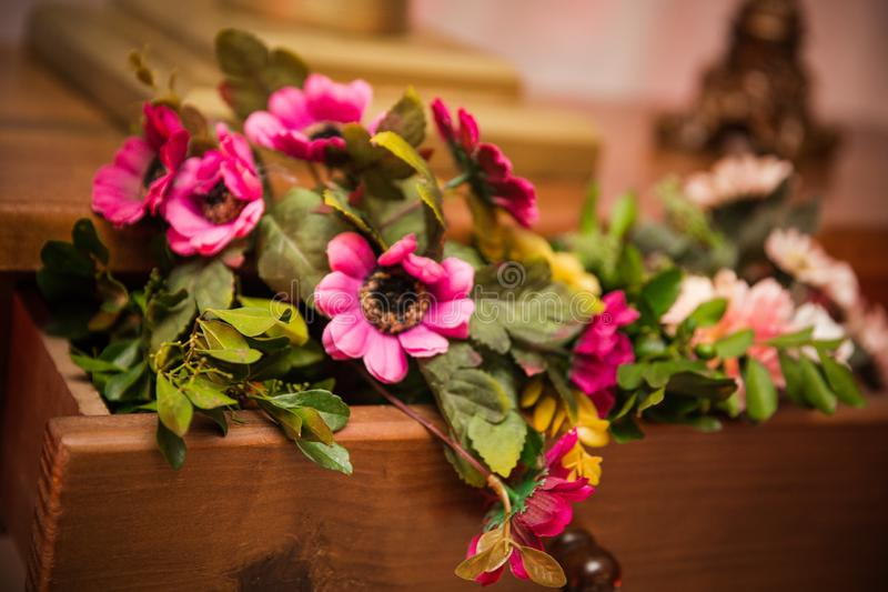 Flowers colorful bouquet into drawer for decoration. stock photos