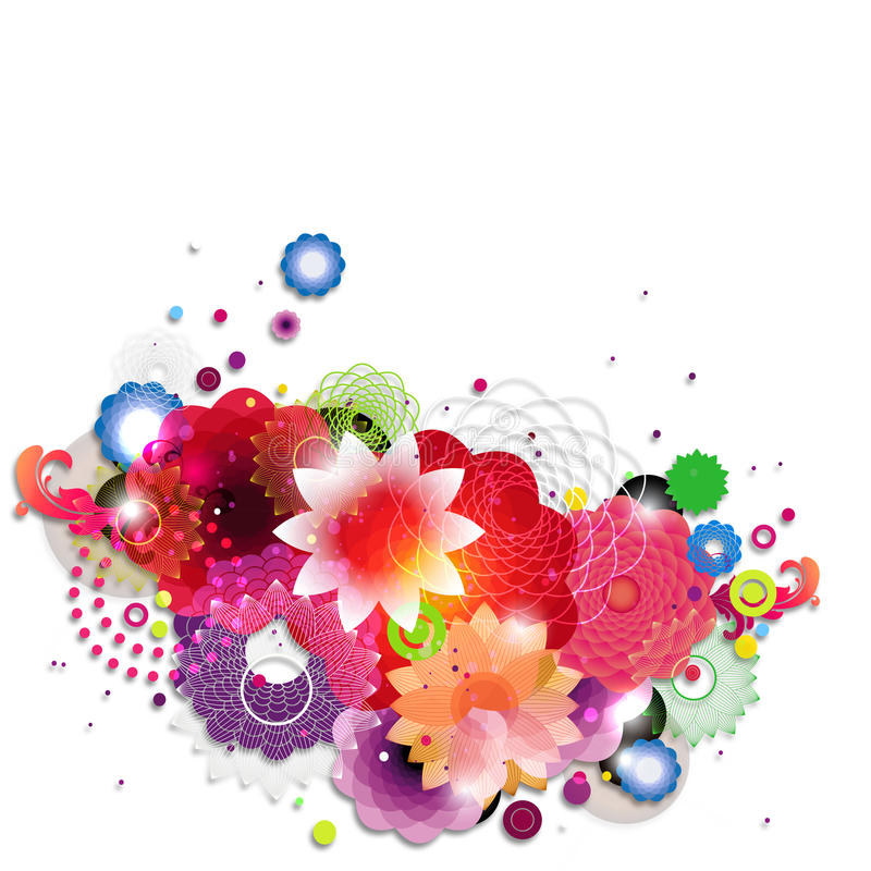 Flowers. Colorful postcard elements in flower style vector illustration