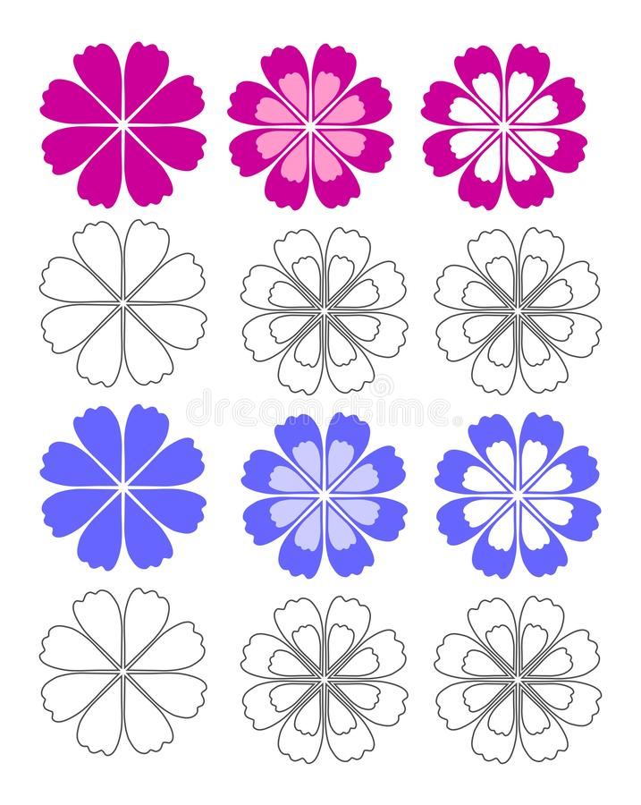 Flowers for coloring sheet for kids stock images