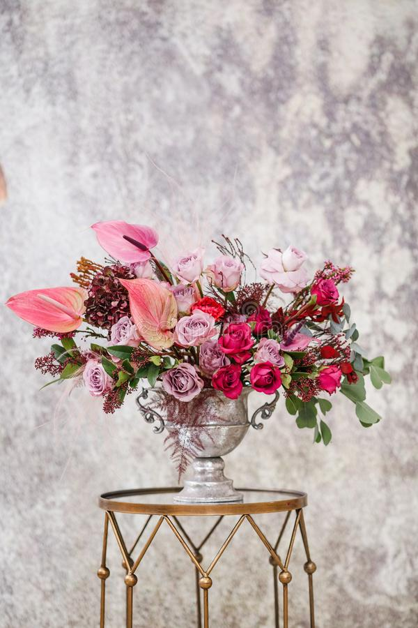 Close-up. Beautiful bouquet of fresh flowers. royalty free stock photo