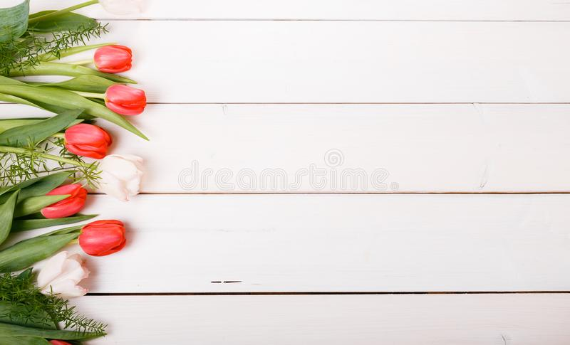 Flowers composition. Frame made of pink flowers on white background. Valentine& x27;s Day. Flat lay, top view. royalty free stock photography