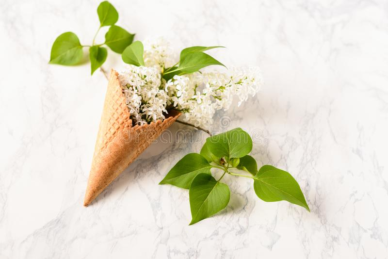 Flowers composition. Lilac in waffle cone on white marble background. Flat lay, top view, copy space. Concept of stock photo