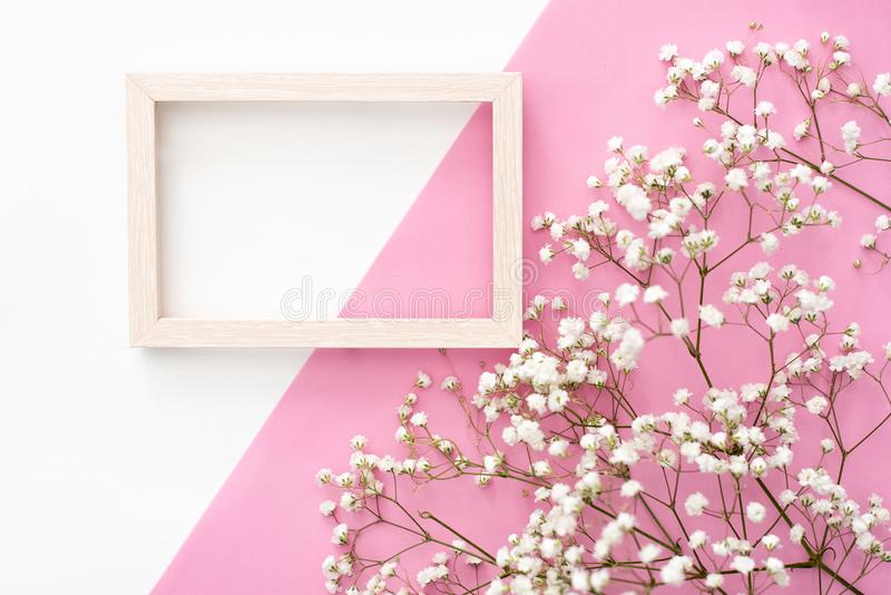 Flowers composition romantic. White gypsophila flowers, photo frame on pastel pink background. Valentine`s Day, Easter, Birthday, royalty free stock image