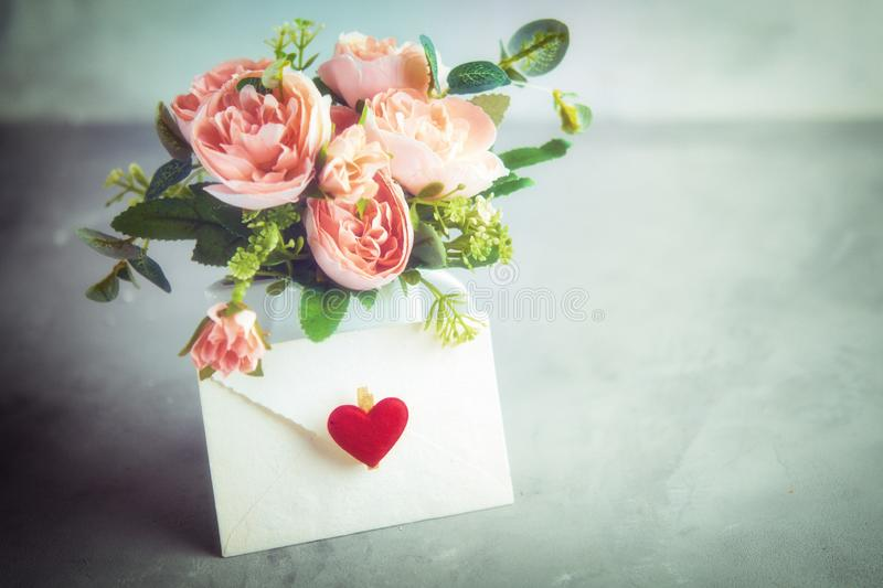 Flowers composition for Valentine`s, Mother`s or Women`s Day. Still-life. Romantic soft gentle artistic image, free space for t royalty free stock photography