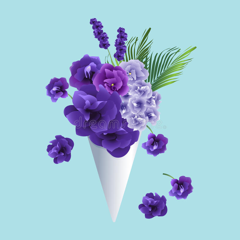 Flowers in cone. Purple, violet flowers and leaves are decorated in paper cone. Colorful flowers bouquet. Vector illustration vector illustration