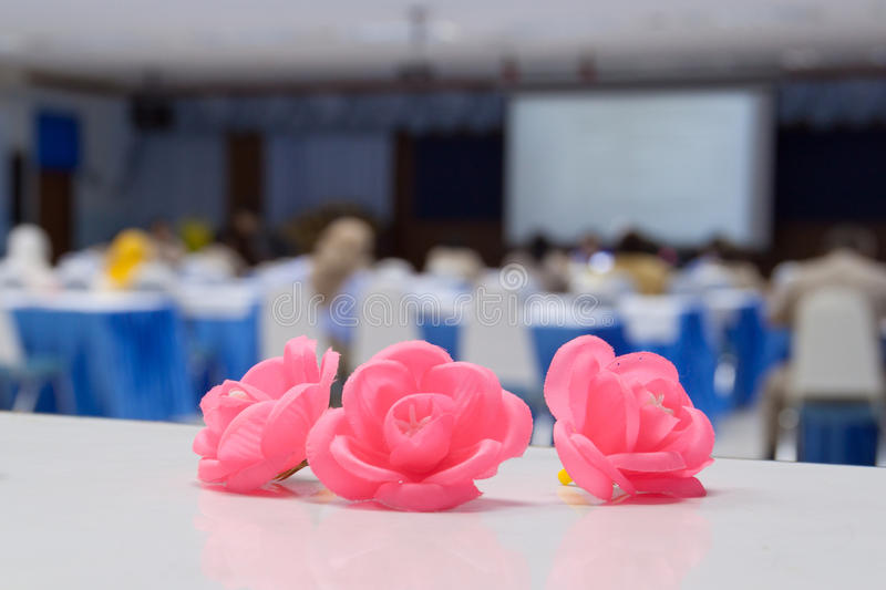 Flowers in the conference room seminar royalty free stock photography