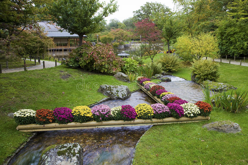 Flowers on creek in japanese garden stock image image of for Jardin japones toulouse