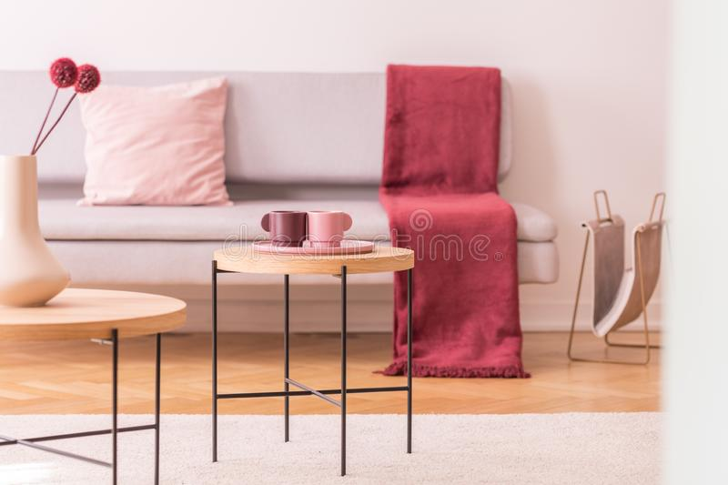 Flowers and cups on wooden tables in living room interior with red blanket on couch. Real photo. Flowers and cups on tables in living room interior with red royalty free stock photography