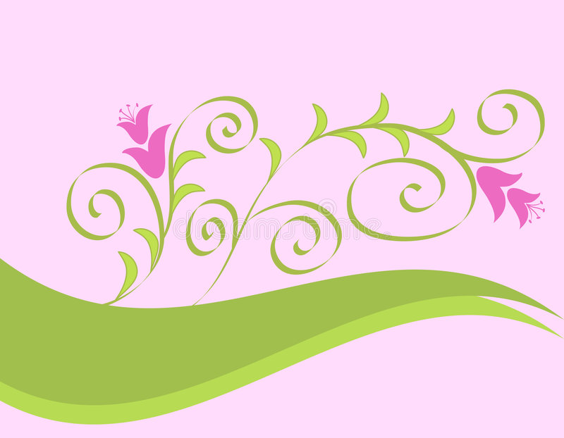 Flowers and curves stock illustration