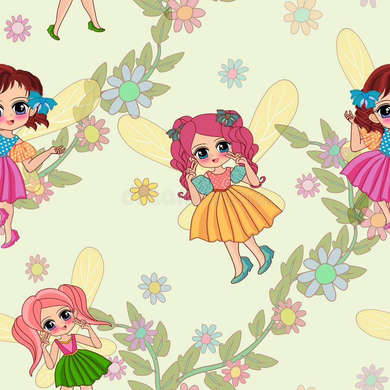Flowers and cute fairy Seamless on green Background stock illustration
