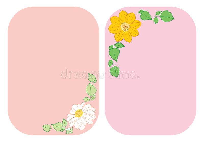 Flowers dahlia in corners of rounded backgrounds - vector floral illustrations A4. Flowers dahlia in corners of rounded backgrounds - vector floral illustrations stock illustration