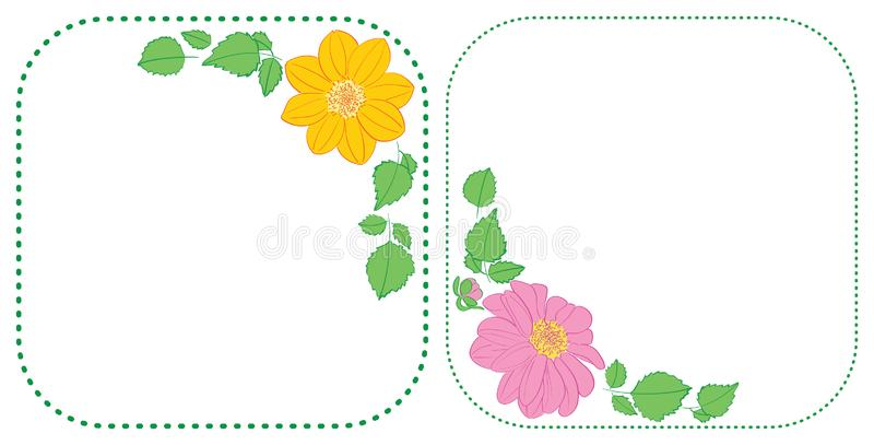 Flowers dahlia in corners of rounded green frames - vector floral illustrations stock illustration