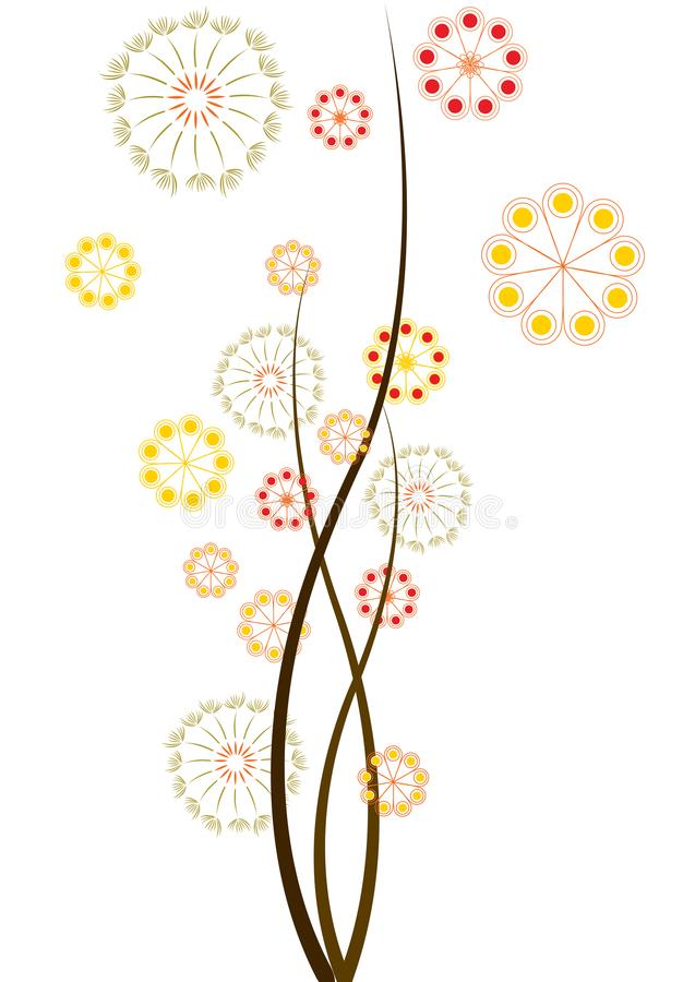 Flowers and Dandelions. Flowers, dandelions, and pollen drifting in the springtime air, vector illustration stock illustration
