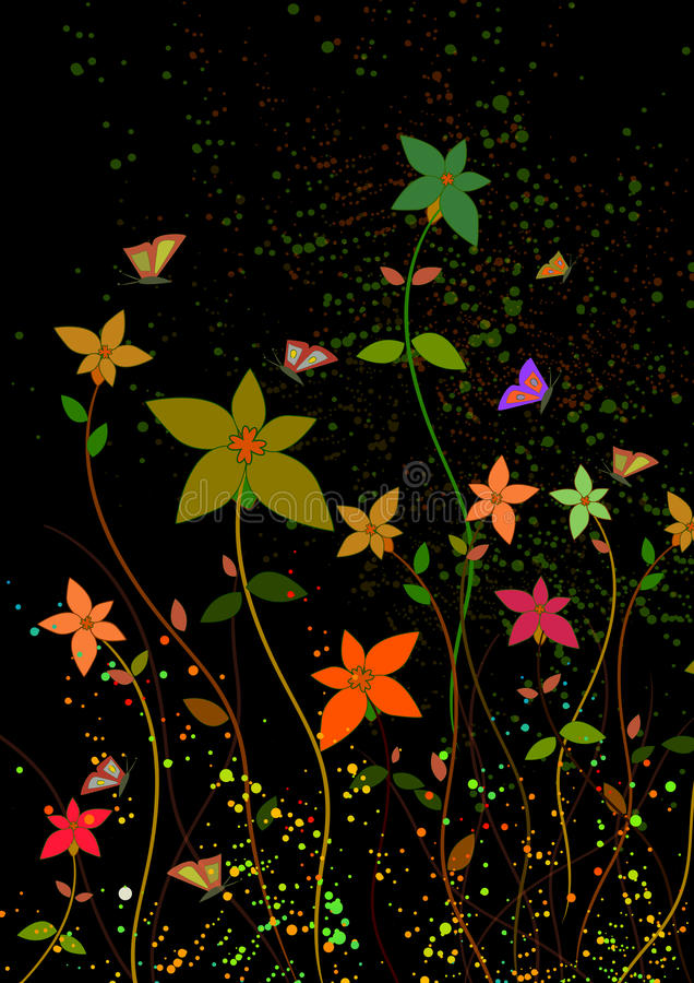 Download Flowers in dark backround stock vector. Illustration of colors - 12278499
