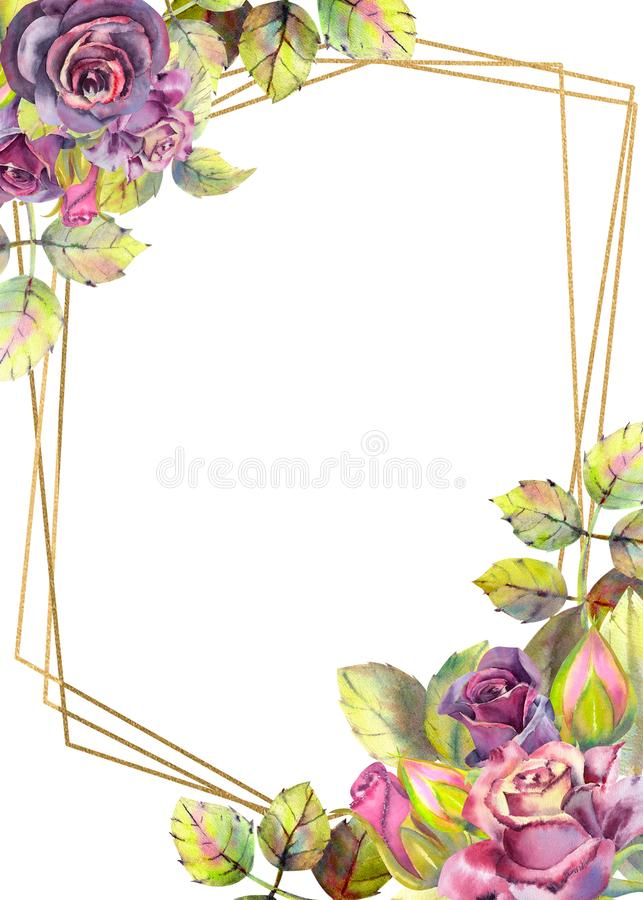 Flowers of dark roses, green leaves, composition.Vertical orientation of the frame . The concept of the wedding flowers. Flower royalty free illustration