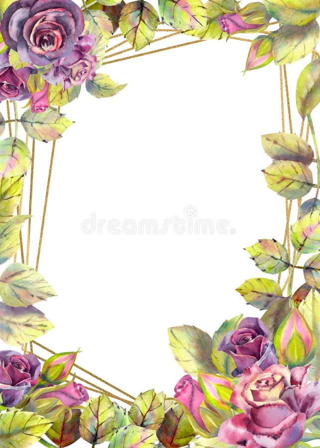 Flowers of dark roses, green leaves, composition.Vertical orientation of the frame . The concept of the wedding flowers. Flower stock illustration