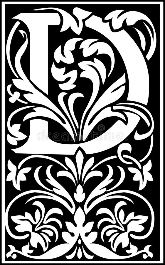 decorative letter b flowers decorative letter d balck and white stock vector 21329