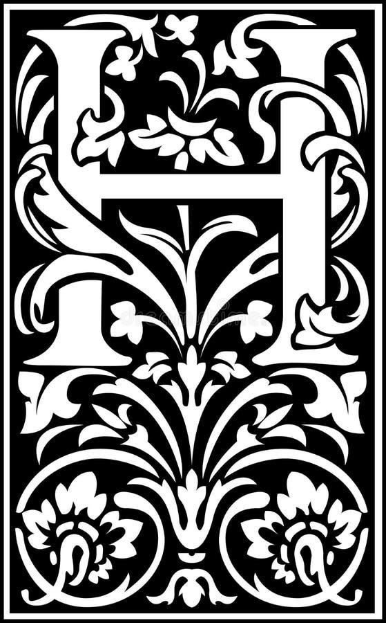 Flowers decorative letter h balck and white stock vector download flowers decorative letter h balck and white stock vector illustration of decorative font altavistaventures Choice Image