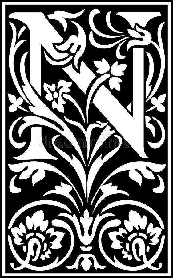 Flowers Decorative Letter N Balck And White Stock Vector ...