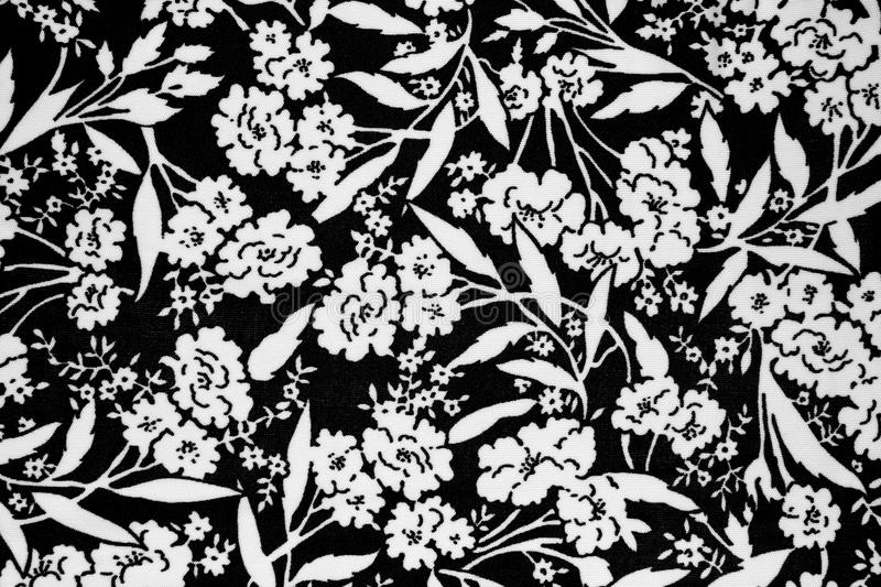 Flowers design fabric. Black and white flowers design fabric royalty free stock photos