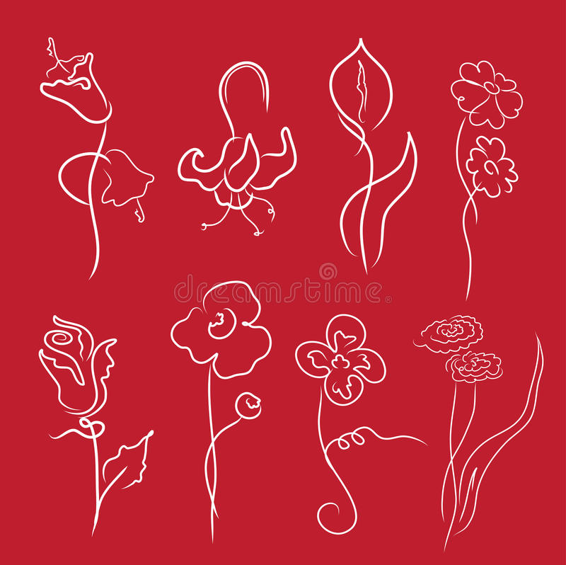 Flowers Design Set stock illustration