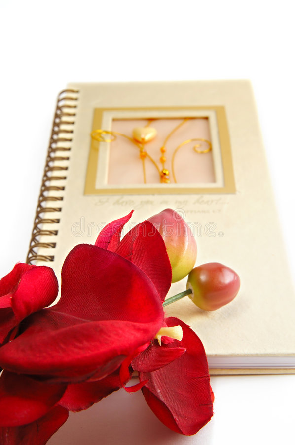 Flowers and diary royalty free stock photography