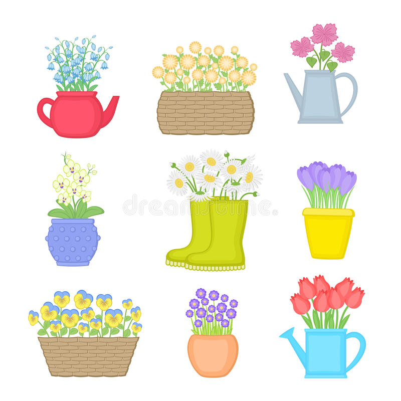 Flowers in different pots. Set of spring flowers. Vector illustration isolated royalty free illustration