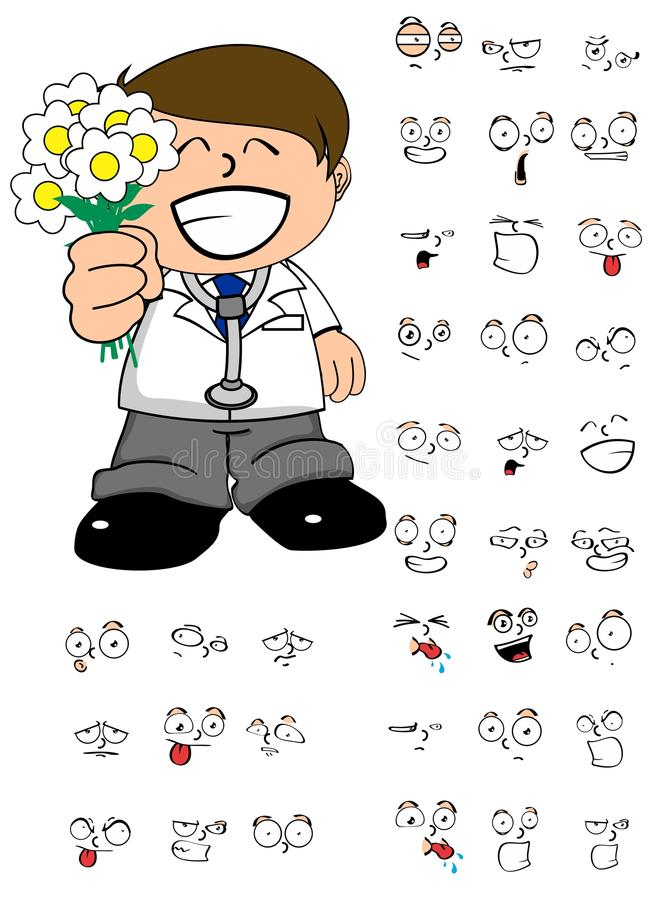 Flowers doctor cartoon expresion set. Young kid doctor cartoon expresion set in vector format vector illustration