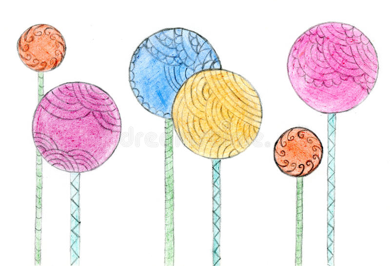 Flowers drawn with crayon. Hand drawn design element royalty free illustration