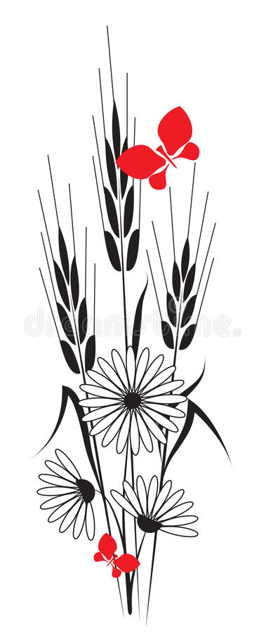 Flowers and ears stock illustration
