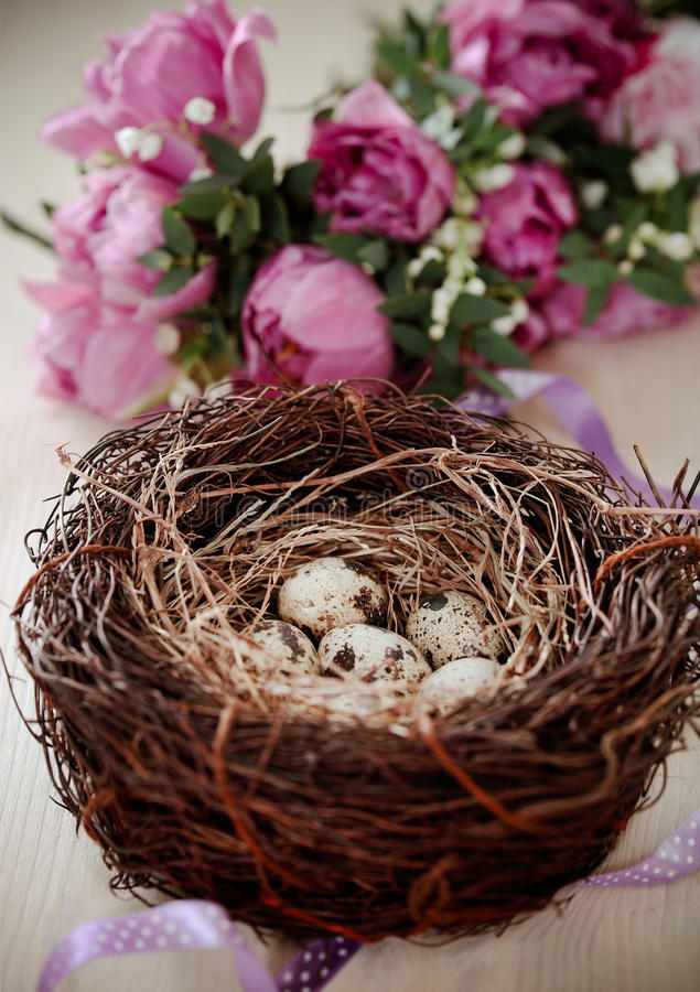 Flowers and easter nest with eggs on rustic wooden background royalty free stock image