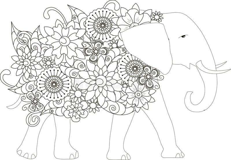 Flowers Elephant, Coloring Page Anti-stress Stock Vector ...