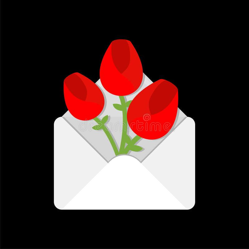 Flowers in envelope. Love letter. Valentine`s Day Message stock illustration