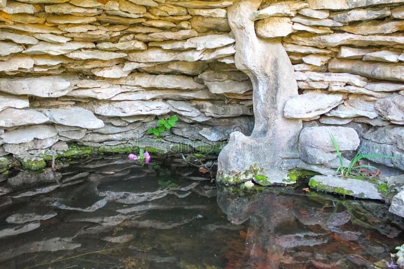 Flowers floating in water inside a stone grotto with stone walls reflecting in the water. Flowers floating in water inside stone grotto with stone walls stock photography