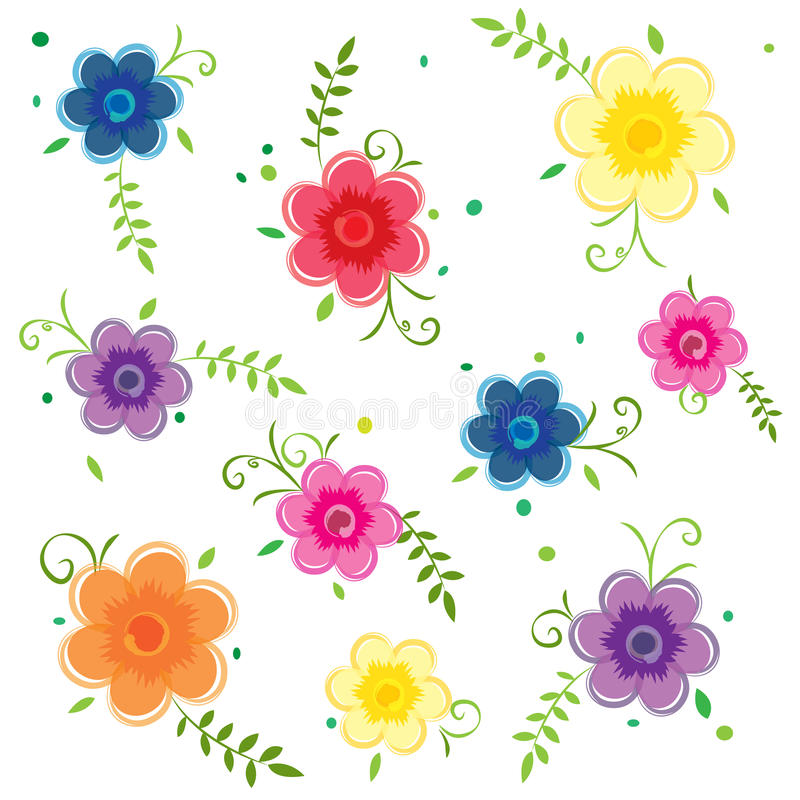 Flowers floral colorful leaves vector illustration