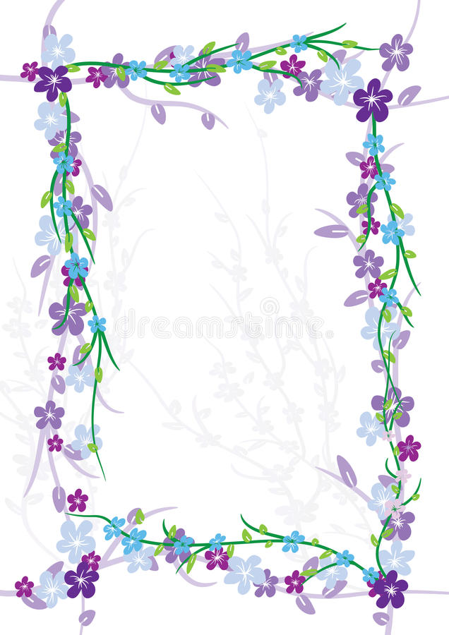 Flowers Flourish Frame_eps. Illustration of flowers flourish frame on white background and shadow. --- This .eps file info Document: A4 Paper Size Document Color vector illustration