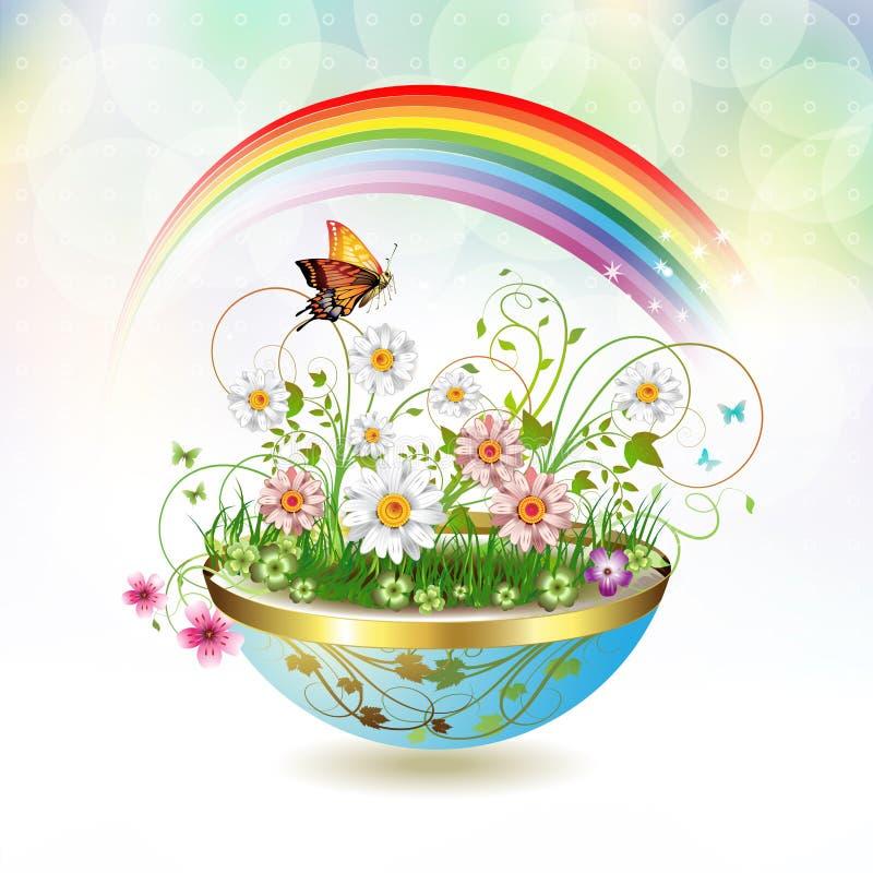 Flowers in flowerpot. And butterflies stock illustration