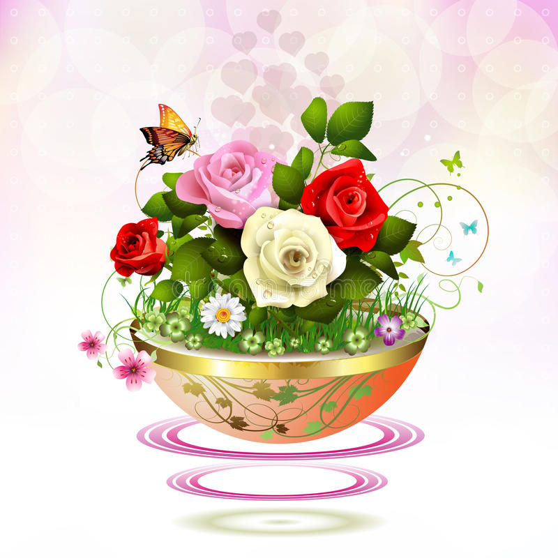 Flowers in flowerpot. With roses and butterflies vector illustration