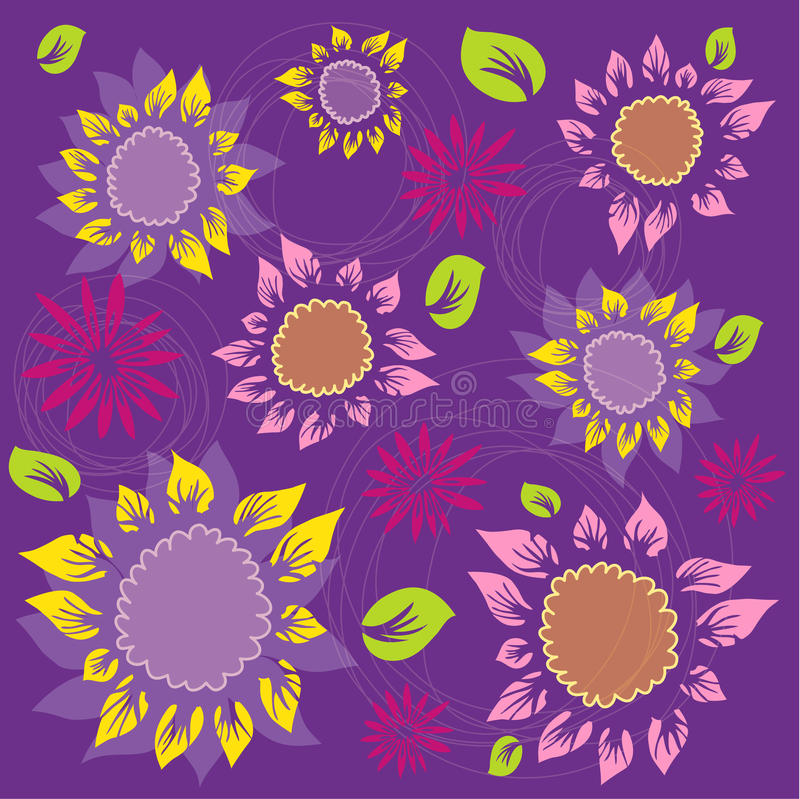 Flowers And Foliage Pattern - Sunflowers Stock Photo