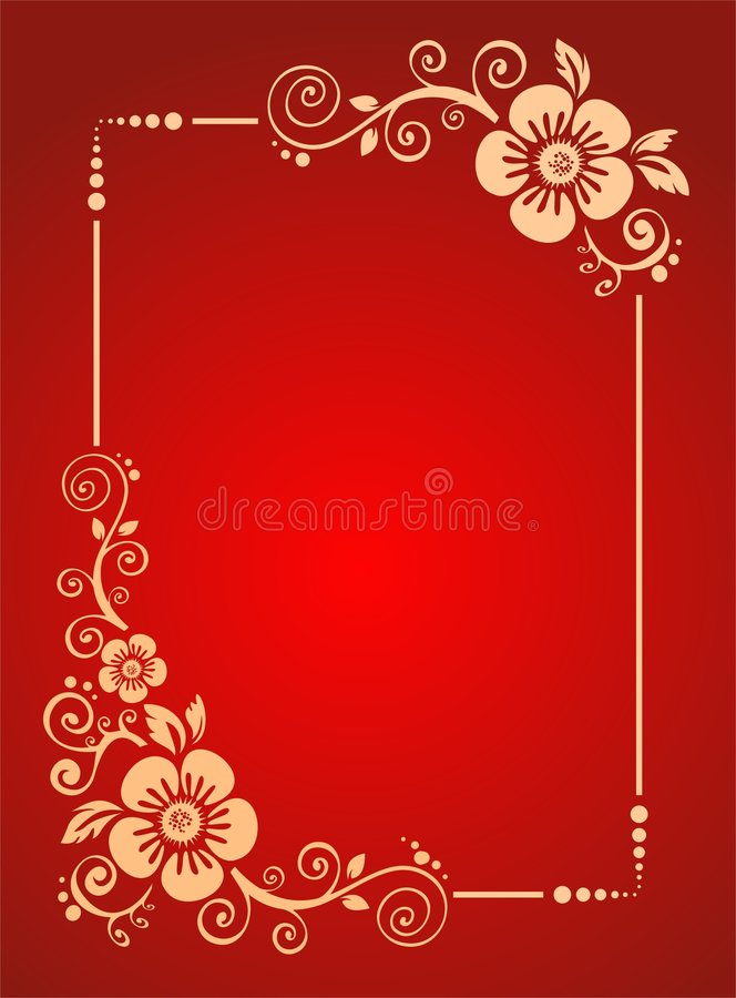 Flowers frame. The frame from pink decorative strips on a red background