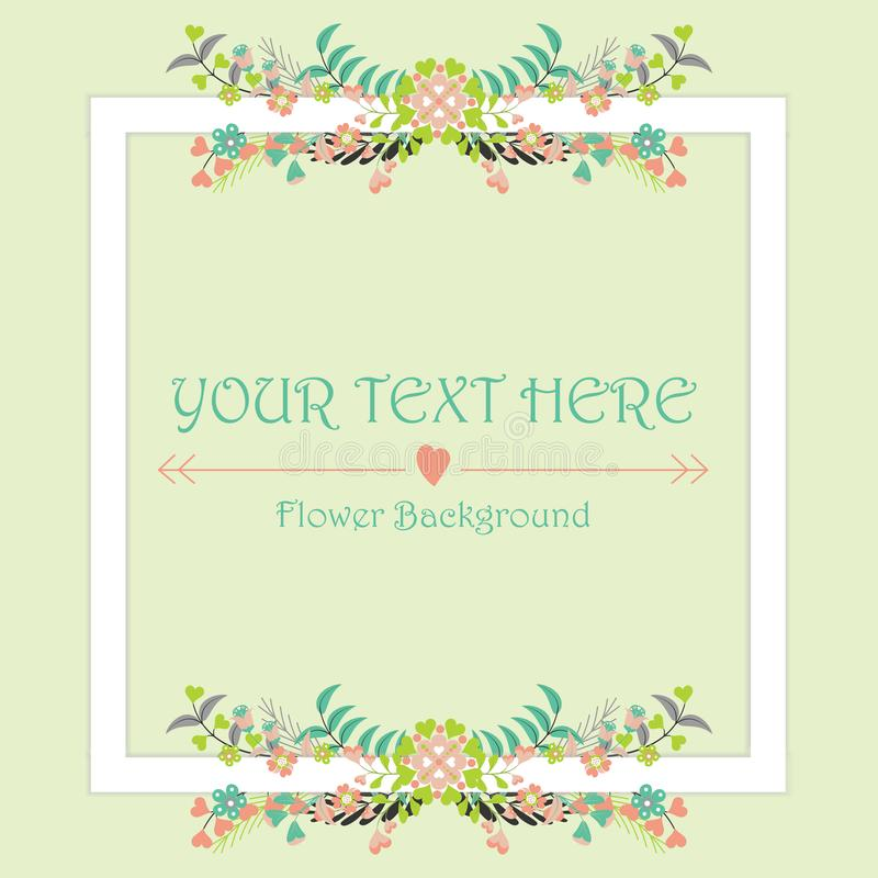Flowers frame background template with colorful floral stock image