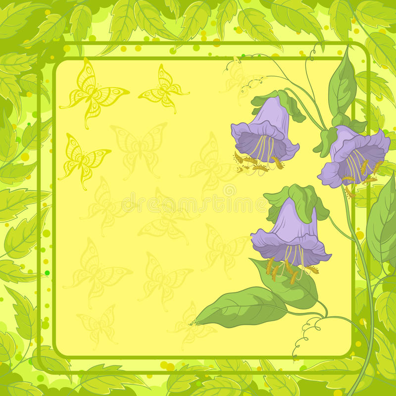 Flowers, frame, butterfly and leaves royalty free illustration