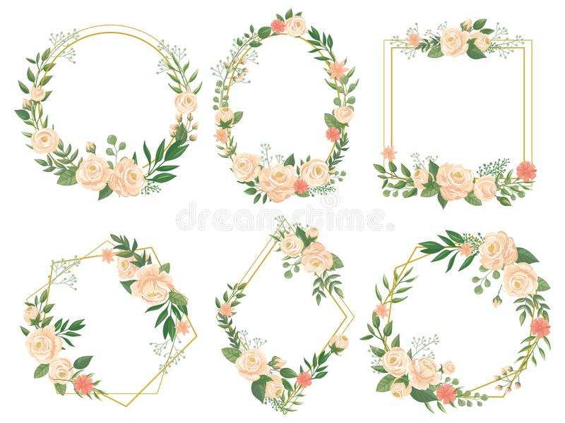 Flowers frame. Flower border frames, round bloom and decorative wedding floral square card vector illustration set royalty free illustration