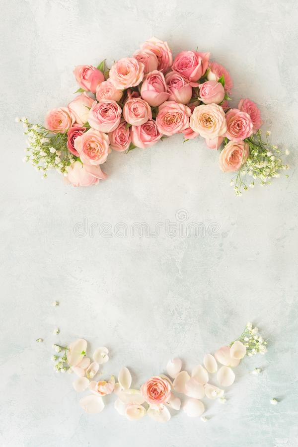 Flowers frame with various roses, gypsophila and petals stock images