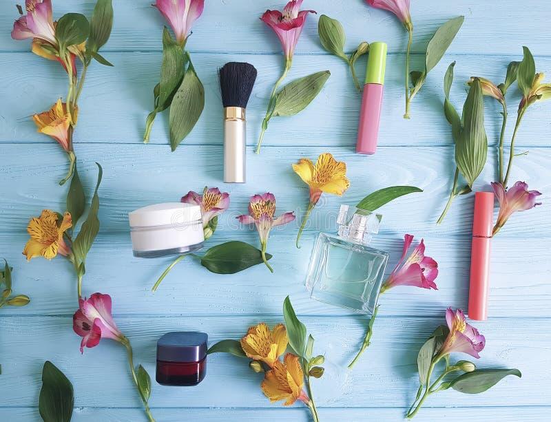 Flowers freshness alstroemeria wooden background pattern decorative cosmetics. Flowers alstroemeria freshness wooden background pattern decorative cosmetics stock image