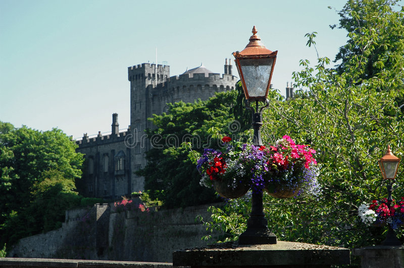 Download Flowers In Front Of Old Castle Stock Image - Image: 2127611