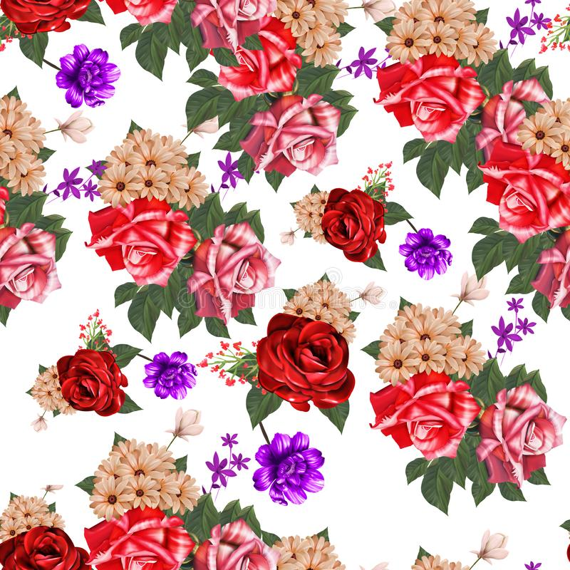 Flowers are full of romance,the leaves and flowers art design. Textile flower royalty free illustration