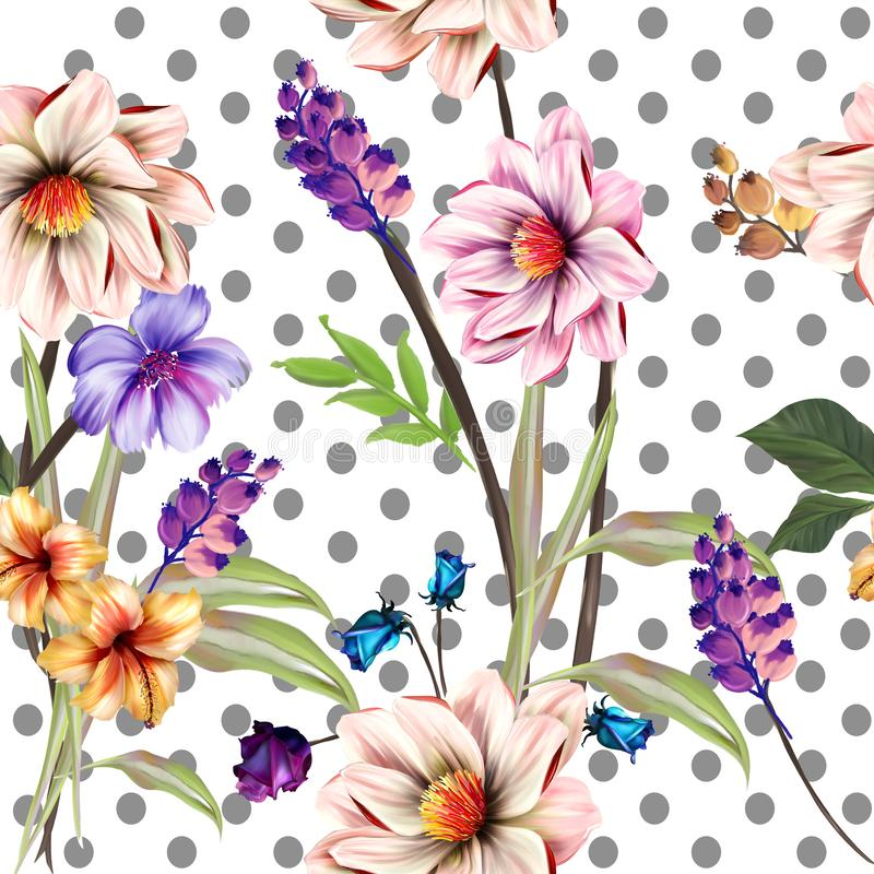 Flowers are full of romance,the leaves and flowers art design. Textile flower stock illustration