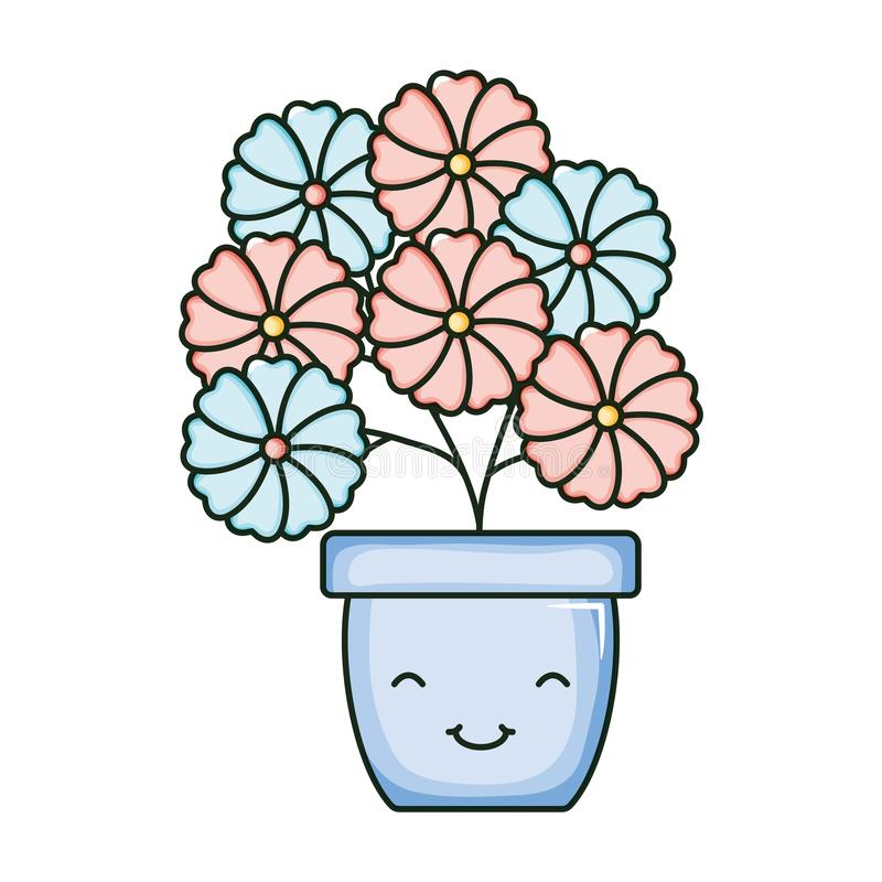 Flowers garden in ceramic pot kawaii character. Vector illustration design royalty free illustration