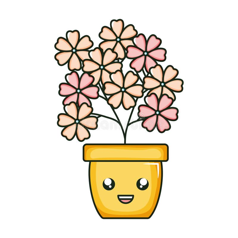 Flowers garden in ceramic pot kawaii character. Vector illustration design vector illustration
